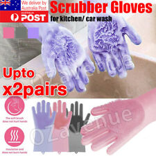 Magic Silicone Rubber Dish Washing Gloves Kitchen Scrubber Cleaning Sponge Tool