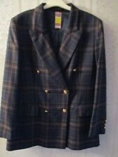 Ladies M& S Pure New Wool Dk Navy Mix Check  Suit Size 16 Petite Fit BNWT