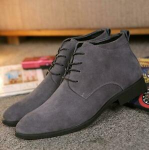 Men's British Flat Suede Breathable High Top Shoes Solid Lace Up Business Shoes