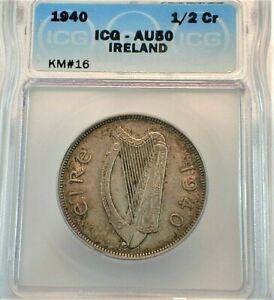 1940 Ireland 1/2 Silver Crown ICG AU50 Condition KM#16 (509)