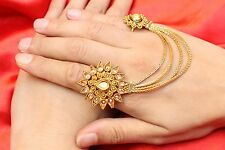 Indian Ethnic Gold Plated Chain Adjustable Double Finger Rings Bollywood Jewelry