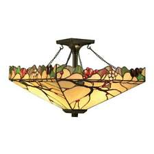 ARBOIS TIFFANY MEDIUM SEMI FLUSH CEILING LIGHT WITH VEINED ART GLASS BEADS 63908