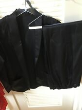 Custom Made 2 Pc Women's Tuxedo Suit Sz Sblack Satin Jacket Pants Set Vtg 70 S