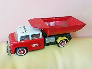 VINTAGE TOY DUMP TRUCK MF 717 FRICTION POWERED 60's GMC ST1 SERVICE CHINA WORKS