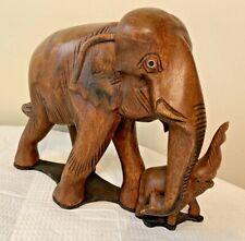 "Vintage Mother & Baby Elephant Thai Teak Wood Carving 9"" x 11.5"""