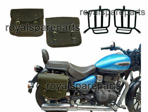 Royal Enfield Meteor 350 Leather Saddle Bags Olive Green With Mounting Pair