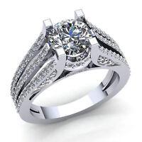 Real 3carat Round Diamond Ladies Split Shank Solitaire Engagement Ring 10K Gold
