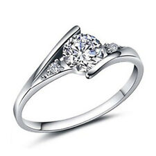 Women Charm Silver Plated Ring Cubic Zirconia Engagement Wedding Party Ring