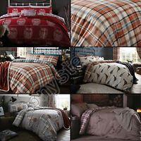 Catherine Lansfield Cotton Rich Polycotton Stag Owl Tartan Check Duvet Cover Set