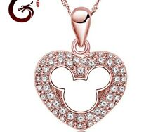 Rose Gold Sterling Silver Disney MICKEY MOUSE Heart Crystal Pendant Necklace A6