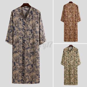 UK Mens Floral Loose Fit Nightshirt Long Sleeve V-Neck Nightwear Sleepwear Robes