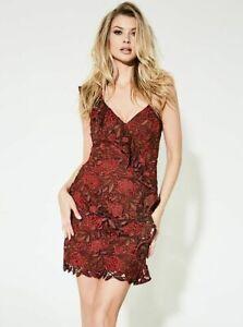 New Women'sGUESS Women's Sleeveless Teegan Lace Floral Lovestruck Dress SZ S