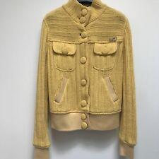 Moschino Jean Yellow Sweater Bomber Jacket Italy Vintage Rhinestone 46 12