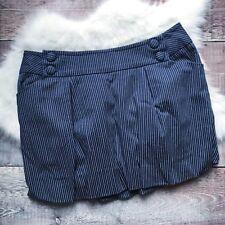 "Anthropologie Lux Pinstripe Skirt W 33 "" Navy Blue Bubble Hem Nautical Blogger"