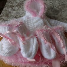 Hand Knitted Baby Girl's Hooded Jacket, Hat, Mitts & Bootees 0-3 months size