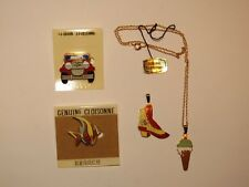 LOT OF 4 VINTAGE CLOISONNE BROOCH PIN / NECKLACE ~ CAR ~ FISH ~ BOOT & ICECREAM