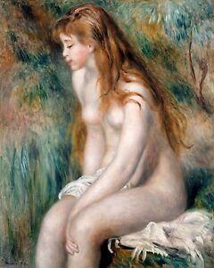 Renoir 1892, Young Girl Bathing, Erotic Art, Nude, HD Art Print or Canvas