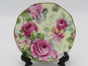 Allyn Nelson Collection Fine Bone China Tea Bag Plate Butter Pink Roses Chintz