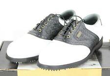 """NEW""  FootJoy DryJoys #53407 Men's Sz 8 M Leather Golf Shoes Spikes White"