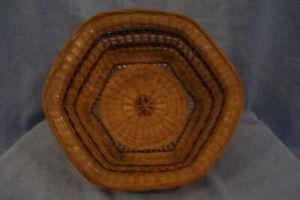 "Woven Brown Hexagon Straw Basket, 9 1/4"""