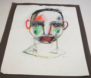 """Michael Banks Outsider Folk Art Abstract Man Face (White Paper) Signed 19x24.5"""""""