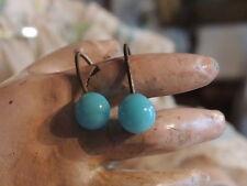 Paire de boucles d'oreille bleue turquoise pour petite poupée ancienne Jumeau