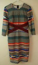 Women's Dress geometric body con Artistic long sleeve knee length Beige by eci 6