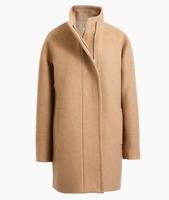 J CREW Womens City Coat Tan Khaki Zip Up Pockets Mock Neck Wool Blend 6 New