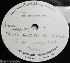 """Deena Webster - Your Heart Is Free Emidisc 7"""" Acetate Unreleased French Version"""
