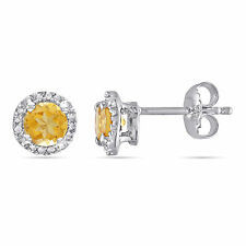 Amour Sterling Silver Citrine & Diamond Solitaire Halo Birthstone Stud Earrings