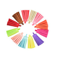12pcs Suede Leather Tassel Keychain Cellphone Jewelry Charms Craft 40mm
