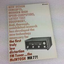 McIntosh Stereo MR 77 FM Tuner Stereo 4 pg Advertising Brochure- original