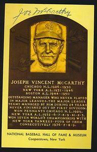 Hall of Fame YELLOW PLAQUE Postcard -JOE McCARTHY -Mgr *Autographed* d.1978