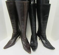 JIMMY CHOO Lot of 2 Black and Brown To-the-Knee Kitten Heel Boots Size 36/37