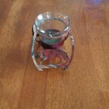 Painted Enamel Metal Wolf Tea Light Candle Holder 4in.