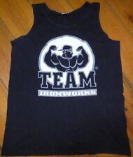 TEAM IRONWORKS Bodybuilding VEST / WIFE BEATER / SLEEVELESS Black Size Medium