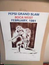 "19"" x 25"" BJORN BORG PEPSI  GRAND SLAM 1981 LITHOGRAPH SIGNED BY  BORG & RAYMOND"