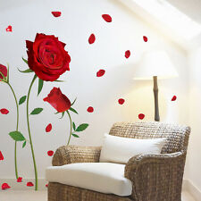 DIY Red Rose Flower Wall Stickers Removable Decal Home Decor  Art Decoration
