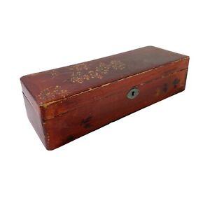 Vintage Hand Painted Wooden Brush Pen Pencil Trinket Box