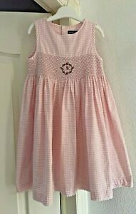 Girl's RALPH LAUREN Pink & White Gingham Check Smock Dress, Age 6 Years!