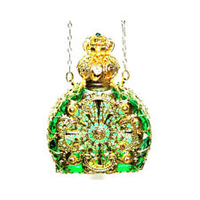 Czech Jewelled Perfume/Oil/Holy Water Green Bottle Pendant Necklace Holder