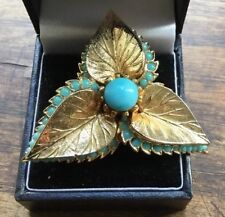 Vintage Gilded Brooch Turquoise Stones Set In Gold Coloured Metal By Spinx 9498