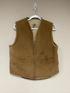 distressed vtg CARHARTT faded sherpa lined canvas vest MEDIUM brown workwear USA