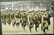"""CANADA WWI UNUSED PICTURE POSTCARD OF """"BRAWNY CANADIAN HIGHLANDERS IN LONDON"""""""