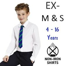 Ex M&S Boys School Shirt White Short Long Sleeve Non Iron Ages 2-16