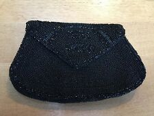 ANTIQUE / VINTAGE FRENCH BLACK BEADED CLUTCH C 1930-50'S