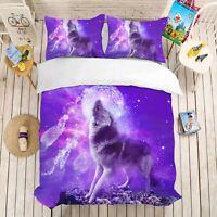 3D Animal Purple Wolf Quilt Cover Set Pillowcases Duvet Cover 3pcs Bedding 20