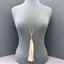 Long Gold Finished Chain & Beaded Bohemian Fringed Peach Fabric Tassel Necklace