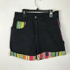 Vintage 1990s High Waist Shorts Black Orange Yellow Red Denim Striped Size 9 10