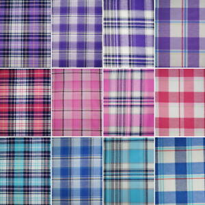 Cotton Rich Fabric Checks Single Side Tartan Gingham Chequered 140cm Wide